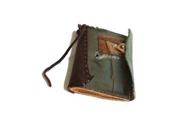 book wallet 古書風 カーキ コラージュの画像