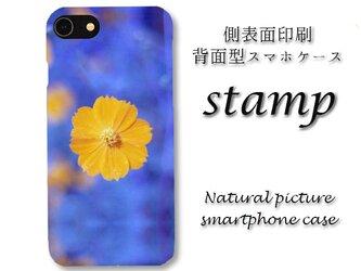 stamp【Android(大) 背面スマホケース】〇送料無料〇花/青/春/夏/かわいい/黄色の画像