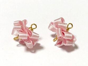 服飾素材 リボンアレンジ リボン02 ピンク 2個入りの画像