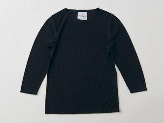 リネンコットンアンダーウェア 7分袖(ブラック・レディースLサイズ)の画像