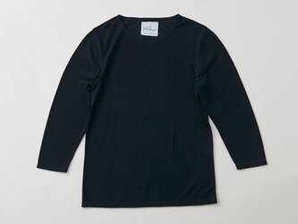 リネンコットンアンダーウェア 7分袖(ブラック・レディースMサイズ)の画像