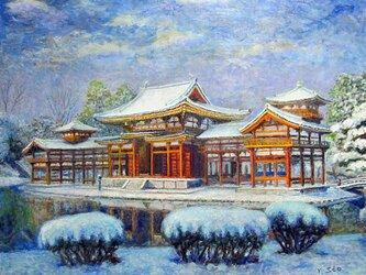 平等院も雪化粧の画像