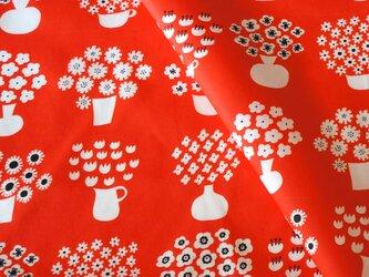 【オーガニックコットン サテン】flower base(red)98cm単位(幅142cm):受注生産の画像