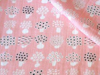 【オーガニックコットン ダブルガーゼ】flower base - small(pink)98cm単位(幅142cm):受注生産の画像