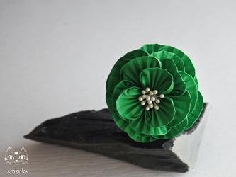 乙女牡丹✿緑 コームor簪 つまみ細工 卒業式・結婚式・着物・お花見の画像