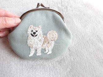 <展示品>がまぐちポーチ秋田犬の画像
