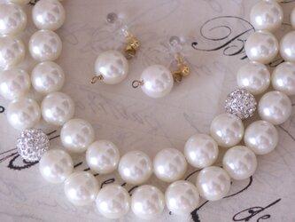 卒業式/入学式*2点セット パールネックレス ノンホールピアス イヤリング 白 卒園式 入園式 ウエディング 結婚式 真珠の画像
