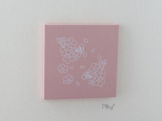 桜のファブリックパネル M-101◆サーモン/白の画像