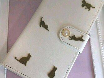 iPhoneX/XS用 手帳型スマホケース 猫パールの画像