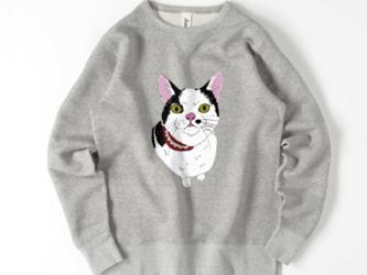 みーこ マズルぷっくり ハチワレ トレーナー スウェット 猫 白黒猫 ねこ 保護ねこ メンズ レディースの画像