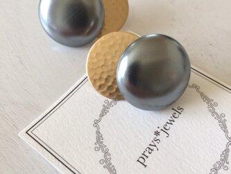24mm! Big Japan Vintage pearls チタンポストピアスの画像
