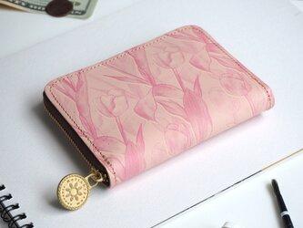 ラウンドファスナー コンパクト財布(フェミニン チューリップ)牛革  花柄 レディース ILL-1145の画像