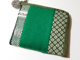 あったかウール生地の2つ折り財布 緑その3の画像