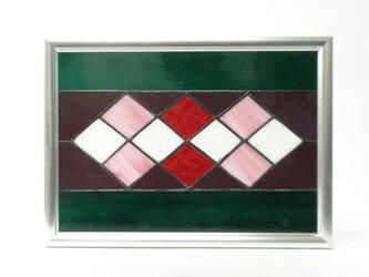ステンドグラスパネル ダイヤ柄 フォトフレームの画像