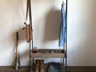 自由設計 数量限定 / 2D-M5-FREE / 2段棚 ハンガーラック アイアン インダストリアル  古材 収納棚の画像
