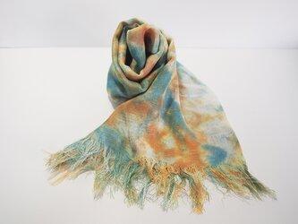 国産シルク100%手描き染めストール orange&blueの画像