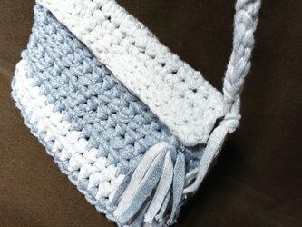 手編み*きらきらミニバック  ポシェット ラメ入りバック  ポーチの画像