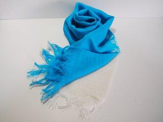国産シルク100%手描き染めストール blue&whiteの画像