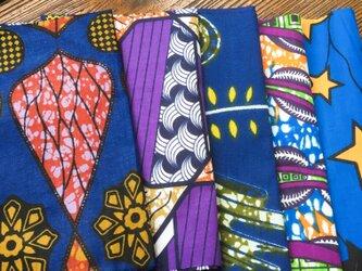 カットクロス 5枚セット  はぎれ アフリカ 布 パーニュ ブルーネイビーの画像