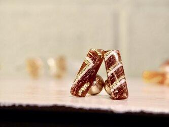 レクタングルクリアピアス*gateau au chocolat*の画像