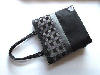 市松柄のトートバッグ・ベルギー製ジャガードの画像