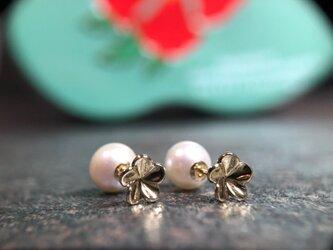 """Pearl & Plumeria Pierce """" パールとプルメリアのオシャレなピアス""""の画像"""