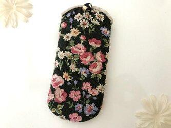 花柄メガネケース 黒の画像