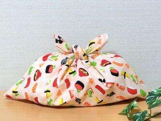あずま袋 お寿司柄 サーモンピンク色 お弁当包み ファスナー無しのバッグインにもの画像