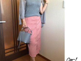 シワになりづらい♪タイトアシメスカート #ピンクの画像