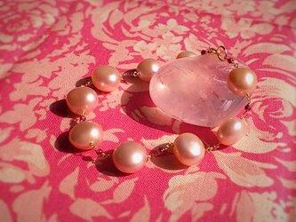 桜色の淡水パールブレスレット(14KGF)の画像