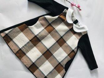 KIDS80-130  ブロックチェック柄の衿つきワンピースの画像