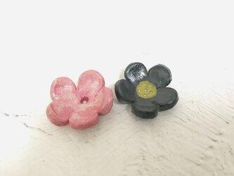 clay no hana/ pink+navy 箸置き2個の画像