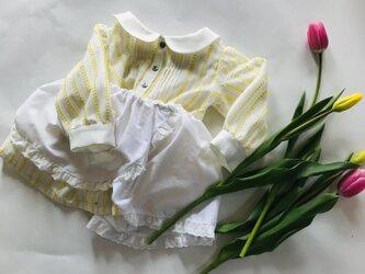 KIDS80~130 猫レースのペチコート付 春色ピンタックとふんわりスカートのワンピース 白×黄色の画像