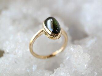 グリーントルマリンカボッション指輪の画像