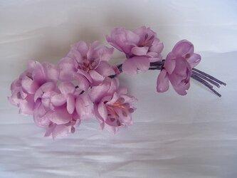 淡いピンクパープルの桜コサージュの画像