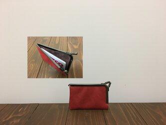 上質牛革 miniがま口カードケース◆赤の画像