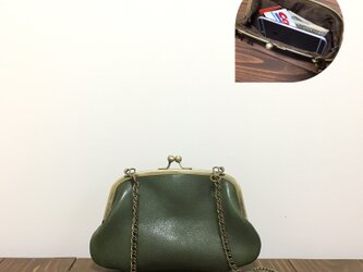 姫路レザー携帯も入る2wayがま口◆カーキの画像