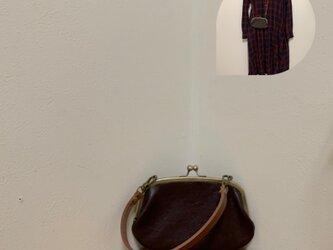 上質牛革ポッケ付きがま口財布◆焦げ茶 17cmの画像