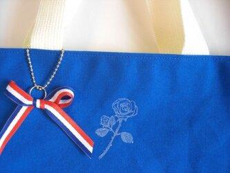 ローズスタンプの帆布バッグ(blue)の画像