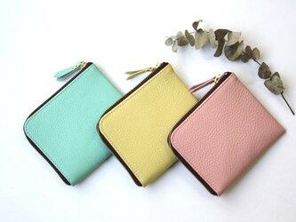 【さくらピンク】牛本革のスリムなミニ財布 シュリンクの画像