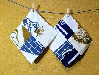 昭和レトロ タオルハンカチ 大人用 てぬぐい リメイク 和風柄2枚セットBの画像