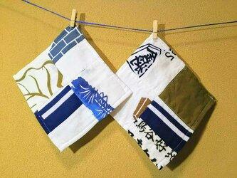 昭和レトロ タオルハンカチ 大人用 てぬぐい リメイク 和風柄2枚セットDの画像