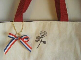 ローズスタンプの帆布バッグ(red)の画像