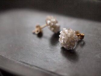 タティングレース 14kgf  confeito(コンフェイト)silk beads  light gray 受注制作の画像