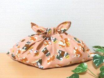 あずま袋 旅わんこ サーモンレンガピンク色 お弁当包み ファスナー無しのバッグインにもの画像