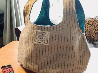kororin bag basic ピンストライプ・ベージュ&ターコイズブルーの画像