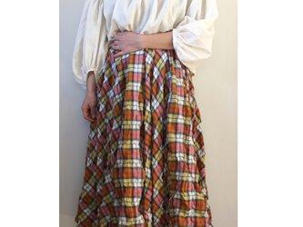 5枚剥ぎのフレアギャザースカート / オレンジ系チェックの画像