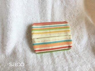 刺繍のポケットティッシュケース(カラーボーダー)の画像