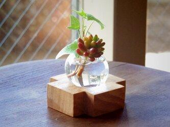 小さな吹きガラスの一輪挿し   トネリコの木の画像
