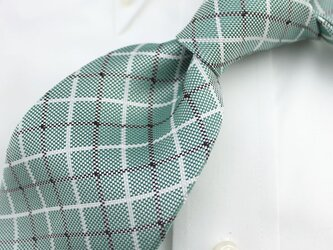 受注制作・チョークチェック・ミントグリーン/ハンドメイドネクタイの画像